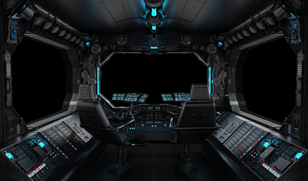 Spaceship grunge interior with view on a isolated black window 写真素材