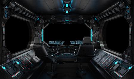 Interiore del grunge dell'astronave con la vista su una finestra nera isolata Archivio Fotografico