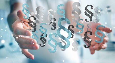 Businessman on blurred background law paragraph symbol 3D rendering