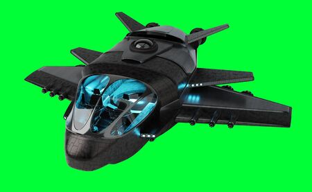 Black mettalic futuristic spacecraft isolated on green background 3D rendering