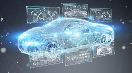 Interface de voiture intelligente numérique moderne isolé sur fond gris rendu 3D Banque d'images - 96645973