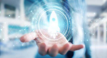Businessman on blurred background using startup digital interface 3D rendering