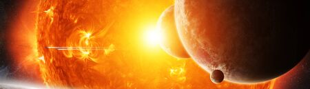 Sun exploding close to inhabited planets system 3D rendering