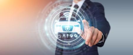 Geschäftsmann auf unscharfer moderner intelligenter Wiedergabe der Autoschnittstelle 3D des Hintergrundes