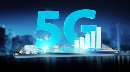 5G network with mobile phone isolated on blue background 3D rendering