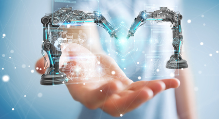 Geschäftsmann auf unscharfem Hintergrund unter Verwendung von Roboterarmen mit digitalem Bildschirm-3D-Rendering