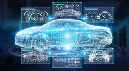 Interfejs nowoczesny cyfrowy samochód inteligentny na białym tle renderowania 3D na niebieskim tle