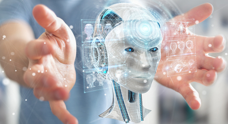 Businessman on blurred background using digital artificial intelligence interface 3D rendering Foto de archivo
