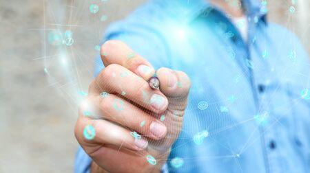Uomo d'affari sulla sfera digitale vaga di dati degli ologrammi del fondo con una rappresentazione della penna 3D Archivio Fotografico - 96797482
