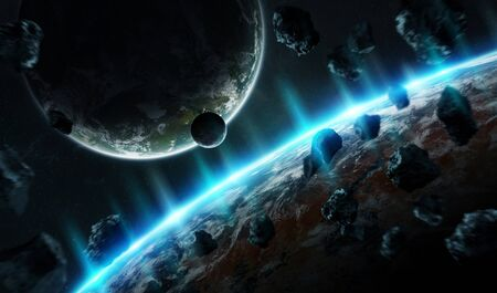 Distant planet system in space with exoplanets during sunrise 3D rendering Stock Photo