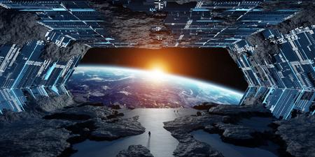 Huge blueish asteroid spaceship interior 3D rendering Zdjęcie Seryjne