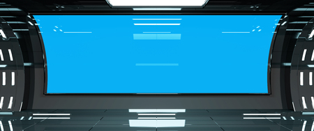 Spaceship dark interior with blue window view 3D rendering