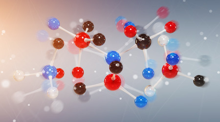 Modern digital molecule structure isolated on grey background 3D rendering