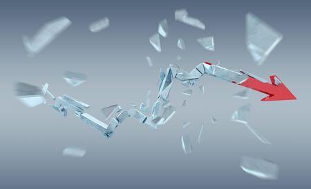 Broken crisis arrow on grey background 3D rendering