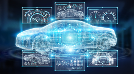 Interfaz de coche inteligente digital moderno aislado opn fondo azul representación 3D