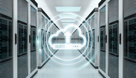 Cloud icon downloading datas and informtations in server room center interior 3D rendering Stock Photo