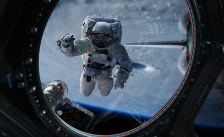 Astronaut in space working on a space station 3D rendering