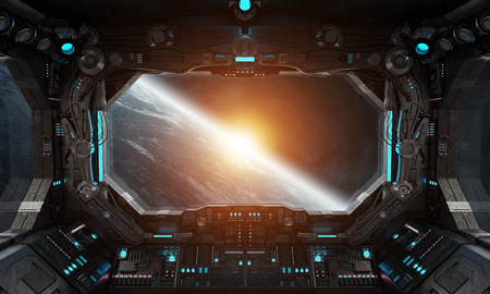 Spaceship grunge interior with view on planet Earth 3D rendering Фото со стока