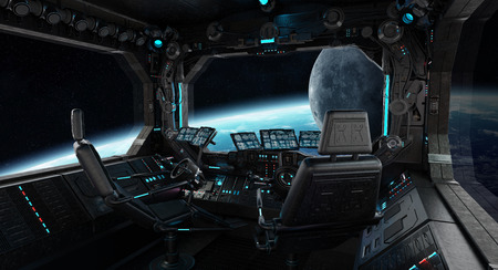 Spaceship grunge interior with view on planet Earth 3D rendering Archivio Fotografico
