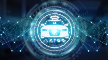 Moderne interface de voiture virtuelle led isolé fond bleu 3d rendu 3d Banque d'images - 97333689