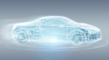 Modern digital smart car interface isolated opn grey background 3D rendering 版權商用圖片