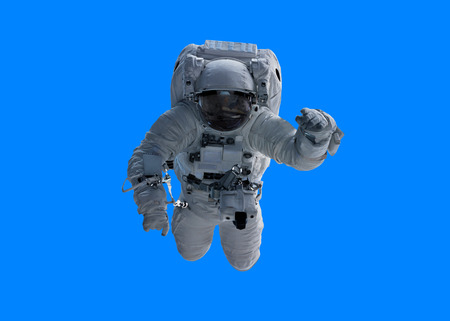 Astronaut floating isolated on blue background 3D rendering