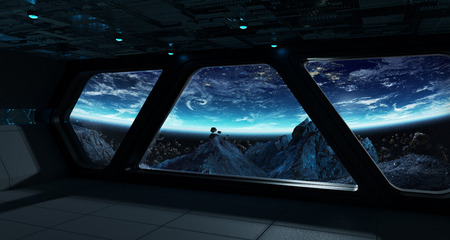 Spaceship futuristic interior with view on planet Earth 3D rendering