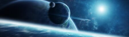 Panoramic view of planets in distant solar system in space 3D rendering