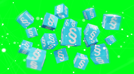 3D rendering law cubes isolated on green background Stock Photo