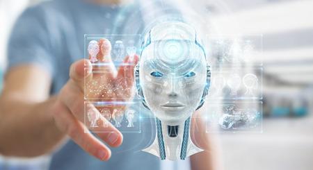 Hombre de negocios en el fondo borroso con interfaz de inteligencia artificial digital 3D rendering