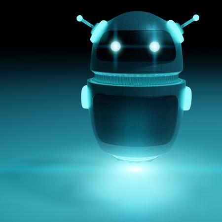 Futuristic digital chatbot on dark background 3D rendering
