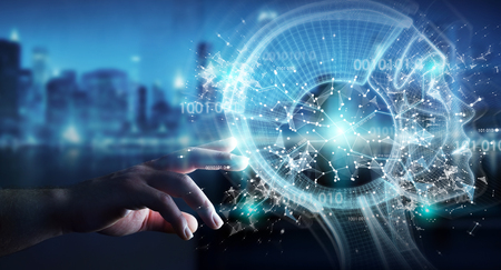 Businessman on blurred background using digital artificial intelligence interface 3D rendering Фото со стока