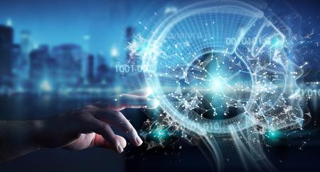 Businessman on blurred background using digital artificial intelligence interface 3D rendering Standard-Bild