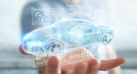 Geschäftsmann auf unscharfer moderner intelligenter Wiedergabe der Autoschnittstelle 3D des Hintergrundes Standard-Bild