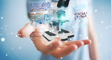 Businessman on blurred background using modern microscope with digital analysis 3D rendering Stok Fotoğraf