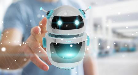 Geschäftsmann auf unscharfem Hintergrund unter Verwendung der digitalen Wiedergabe der chatbot Roboteranwendung 3D
