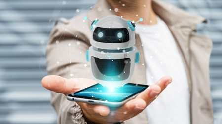Uomo d'affari su fondo vago facendo uso della rappresentazione digitale dell'applicazione 3D del robot del chatbot Archivio Fotografico - 97336996