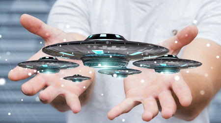 Businessman on blurred background with retro UFO spaceship 3D rendering