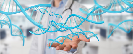 Doctor on blurred background holding blue digital DNA structure 3D rendering Archivio Fotografico
