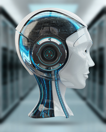 Cyborg head artificial intelligence isolated on grey background 3D rendering