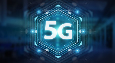 5G network interface isolated on blue background 3D rendering Stockfoto - 97336734
