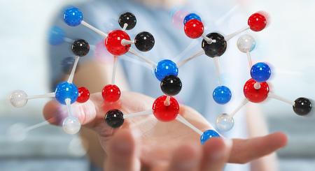 Businessman on blurred background using modern molecule structure 3D rendering