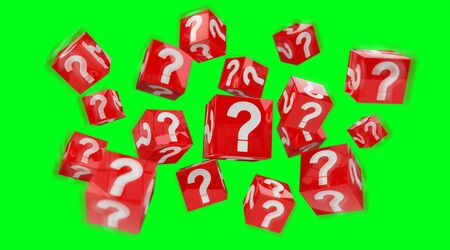 Cubes with 3D rendering question marks on green background