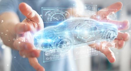 Empresario sobre fondo borroso interfaz de coche inteligente moderno renderizado 3D