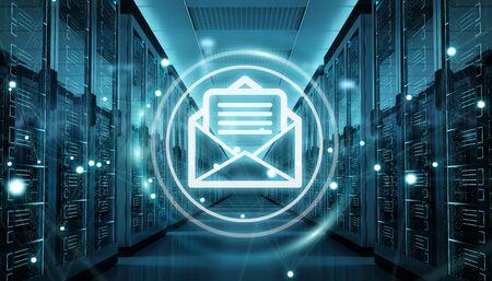 Digital white emails exchange over server room data center interior 3D rendering