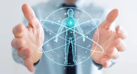 Hombre de negocios en el fondo borroso utilizando la representación digital 3D de la interfaz de escaneo del cuerpo humano de rayos X