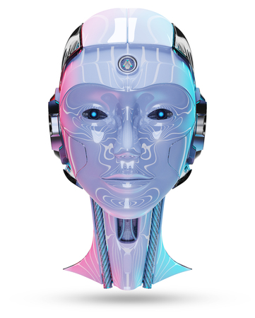 Cyborg head artificial intelligence isolated on white background 3D rendering
