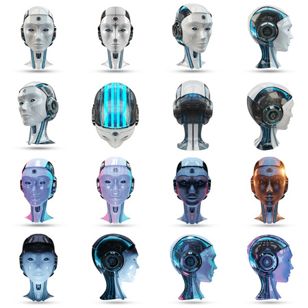 Cyborg head artificial intelligence collection isolated on white background 3D rendering