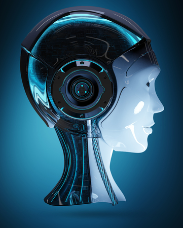 Cyborg head artificial intelligence isolated on blue background 3D rendering Foto de archivo