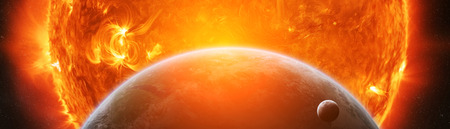 Exploding sun in space close to planet Earth 3D rendering Stok Fotoğraf - 97858676